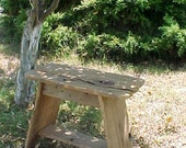 MILKING STOOL, On Sale! Small BENCH, Country Primitive, SPLiT Wood Rough Edges Bench, - Mud Room Bench, Down Home Country, Outdoor Furniture