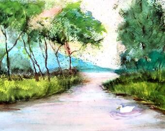Landscape of Peaceful Pond with duck, ORIGINALS, free matte board, SALE