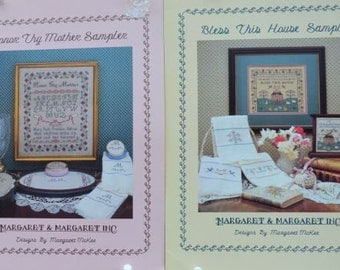 Honor Thy Mother Sampler & Bless This House Sampler by Margaret McKee – Margaret and Margaret Inc #25, #21 - 2 Cross Stitch Charts