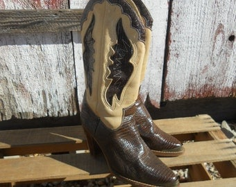 Vintage Zodiac Brown Moc Croc Cut-Out fancy Stacked Heel Cowboy Boots size 6 1/2 M womens