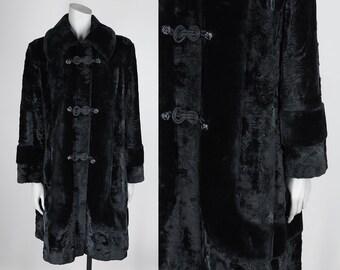 SALE / Vintage 70s Coat / 1970s Black Faux Fur Frog Closure Winter Coat L XL