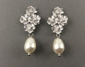 Bridal Pearl Earrings In Matte Silver Four Flowers With Cubic Zirconia And White Teardrop Pearls