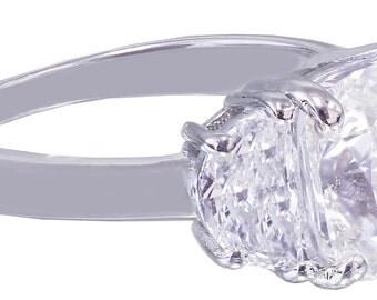 18k white gold cushion cut diamond engagement ring 2.80ct I-SI1 EGL USA cert
