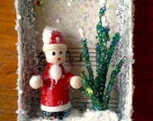 Upcycled Matchbox Ornament w Vintage Sheet Music (1925), Vintage Wooden Santa, &  Green Glitter Tree