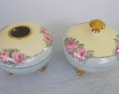 Powder Box and Hair Receiver / Tressemann & Vogt / Limoges France / Antique Dressing Table Set