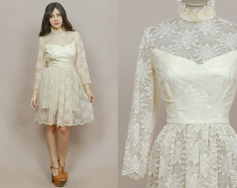 Cream Lace Dress 60s Midi Ruffle Collar Sheer Sleeve Sweetheart Neckline Midi 1960s Cocktail Party Valentine's Long Sleeve / Size M Medium