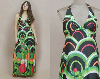 70s Halter Maxi Dress Graphic Print Black Green Floral Hibiscus Jantzen 1970s Sundress Hippie Boho Psychedelic Empire Waist / Size M Medium