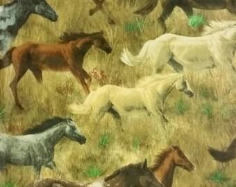 Running horses cotton fabric, VIP Cranston, 16 inches