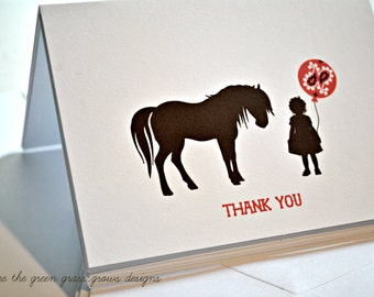 Girl and Pony Western Thank you Note Cards