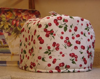 ARTI Toaster cover RED CHERRIES on White  for 2 slice Toastmaster with bagel setting