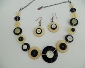 Button necklace,button jewelry,vintage necklace,black and white button necklace, ,get earrings at the same colors for free