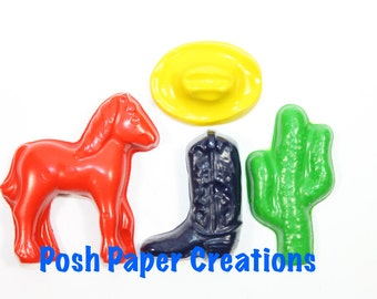 5 sets of 4 cowboy theme crayons - cowboy hat, boot, horse and cactus - pick you colors