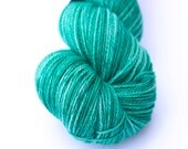 Green hand-dyed fingering weight yarn   Round Table Yarns Guenevere in Glastonbury