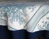 """Vintage Round Tablecloth Shades of Blue and White Floral Design 72"""" Top Liner"""