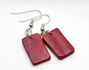 Red Polymer Clay Earrings - Bohemian Earrings - Gift Idea - Hypoallergenic - Little Girls Earrings - Stocking Stuffer - Christmas Gift