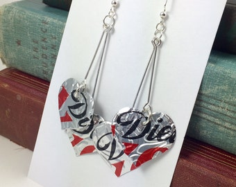 Long Heart Earrings.  DOUBLE-sided.   Recycled Soda Can.  Coca Cola Coke