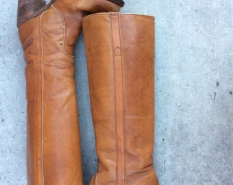 Vintage Frye Honey brown tall 70's Stacked Heel Boots 7 USA
