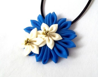 Royal Blue Chiffon Flower Wearable Fiber Art Statement Necklace with Gold and Ivory