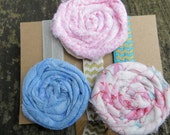 Set of Three Shabby Rag Style Elastic Ribbon Hair Ties Vintage Fabric Rosette Hair Ties Unique and Pretty Pastel Colors