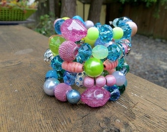 Summer Memory Wire Bracelet Pastels Wrap Bracelet Glass Acrylic Wood Fun And Bright and Whimsy Memory Wire Bracelet