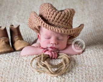 Newborn Crochet Cowboy Hat, Baby Boy Cowboy Hat, Baby Girl Cowboy Hat, Crochet Baby Cowboy Hat, Cowboy Hat Photo Prop,