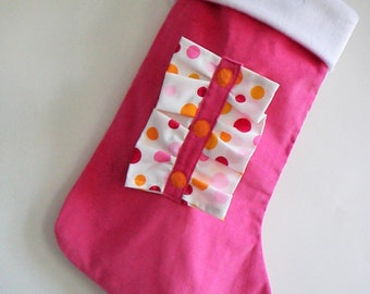 Ruffles Bright Pink Modern Christmas Stocking - Personalized Stocking - Girls Christmas Stocking