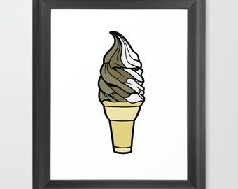 Soft Serve Ice Cream Cone, 8x10 Print