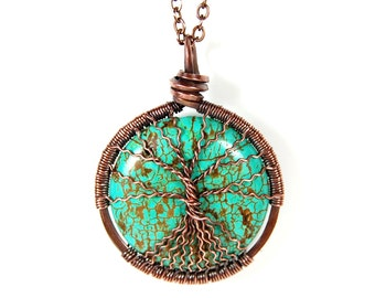 Spindly Roots and Branches Round Turquoise Tree of Life Necklace in Antique Copper.