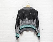 80s Loose Sweater M • Cityscape Dolman Sweater • Black Novelty Sweater • Cozy Sweater | T346