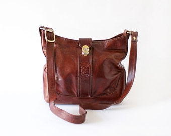 Marino Orlandi Slouchy Bag • Leather Hobo Bag • Brown Leather Crossbody Bag • Hobo Bag Crossbody • Boho Bag  | B485