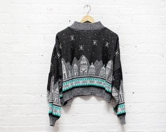 80s Loose Sweater M • Cityscape Dolman Sweater • Black Novelty Sweater • Cozy Sweater   T346
