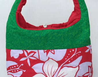 Floral red/green lunch bag