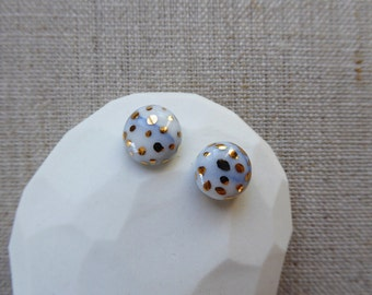 Marble Speckled Gold Dome Stud Earrings