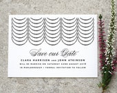 Modern Minimal 'Save the Date' Card / 'Coco' Art Deco Wedding Card / Engagement Announcement / Black and White / Custom Colours / ONE SAMPLE