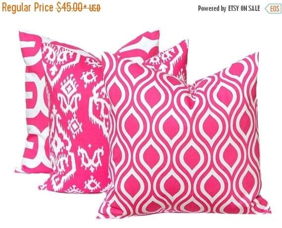 Sale hot pink pillow decorative pillow hot pink throw pillow cover