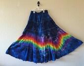 Medium rainbow tie dyed maxi skirt