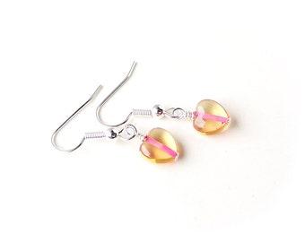Pink Heart Earrings, Little Glass Heart Earrings, Beaded Earrings, Heart Jewellery, Pink Jewellery, UK, 1604