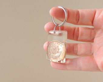 1939 Coin Keyring, UK Half Penny Old Money, Ha'penny Coin Keyring Keychain, 1939 Birthday Anniversary Gift, UK, 2101