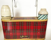 Vintage Car-Snac Red Plaid Picnic Lunchbox and Thermos Set 1964 Kitsch Picnic Set