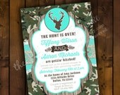 Printable Bridal Shower Invitation Design - The Hunt is Over - Camo & Lace Hunting Themed Camouflage Bridal Shower Invitation Design
