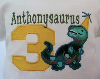 Dinosaur  Applique for Boys or Girls Shirt with Name and number or just Name with Letter