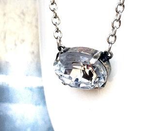 Minimal Solitaire Necklace - Minimal Crystal Necklace - Short Silver Necklace - Oval Solitaire - Modern Minimal Necklace - Cubic Zirconia