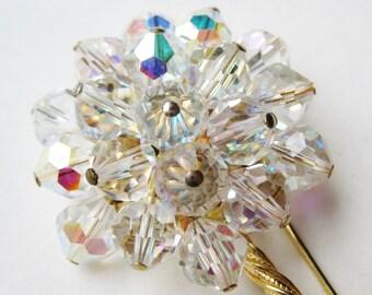 Vintage 50s Alice Caviness Aurora Borealis Crystal Rhinestone Flower Brooch Pin