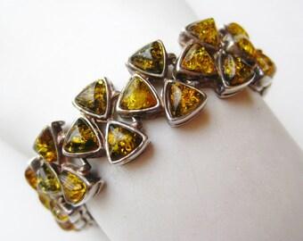 Vintage Sterling Silver Baltic Amber Modernist Heavy Panel Link Bracelet