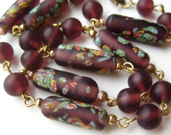 Vintage 40s Frosted Art Glass Millefiori Murano Bead Choker Necklace