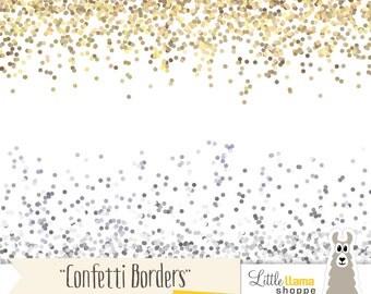 Confetti Border Clip Art, Gold Glitter Border Clipart, Silver Glitter Border, Gold Confetti, Silver Confetti, Commercial Use