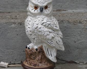 1980s ceramic owl light woodlands cabin decor kitsch