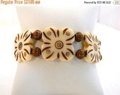 ON SALE Bracelet, White and Copper Stretch Bracelet, Bohemian Bracelet, White Bracelet