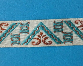 Blue and Red Metallic Patterned Jacquard Ribbon Sewing Trim 10 Yards by 1 Inch Wide L0570