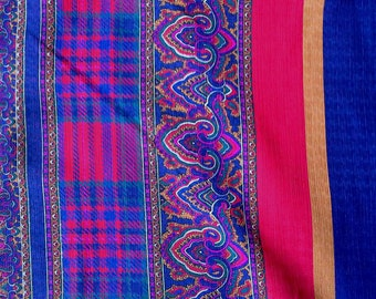 Blue, Red Yellow Plaid Border Print Lightweight Polyester Fabric 4 Yards X0563 MO
